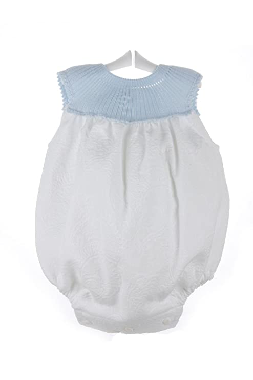 Isabel Maria - Ranita para bebé de piqué brocado - 3 meses, Celeste y blanco