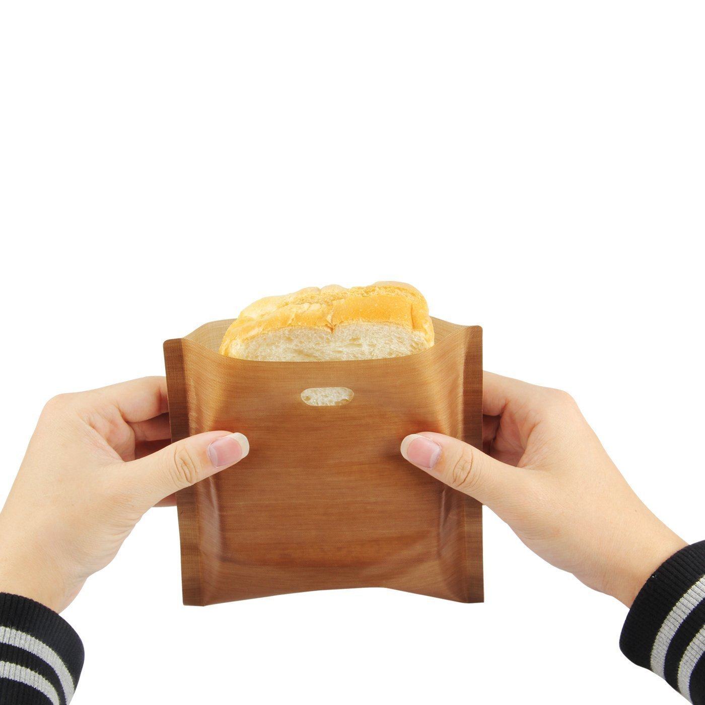 Toaster bags: reusable, non-stick, (6 PACK), durable, grill bags, grilled cheese bags, sandwich bag, easy to use, no mess, Teflon, FDA approved, grill parchment, baking parchment. (''SET Of 6'').