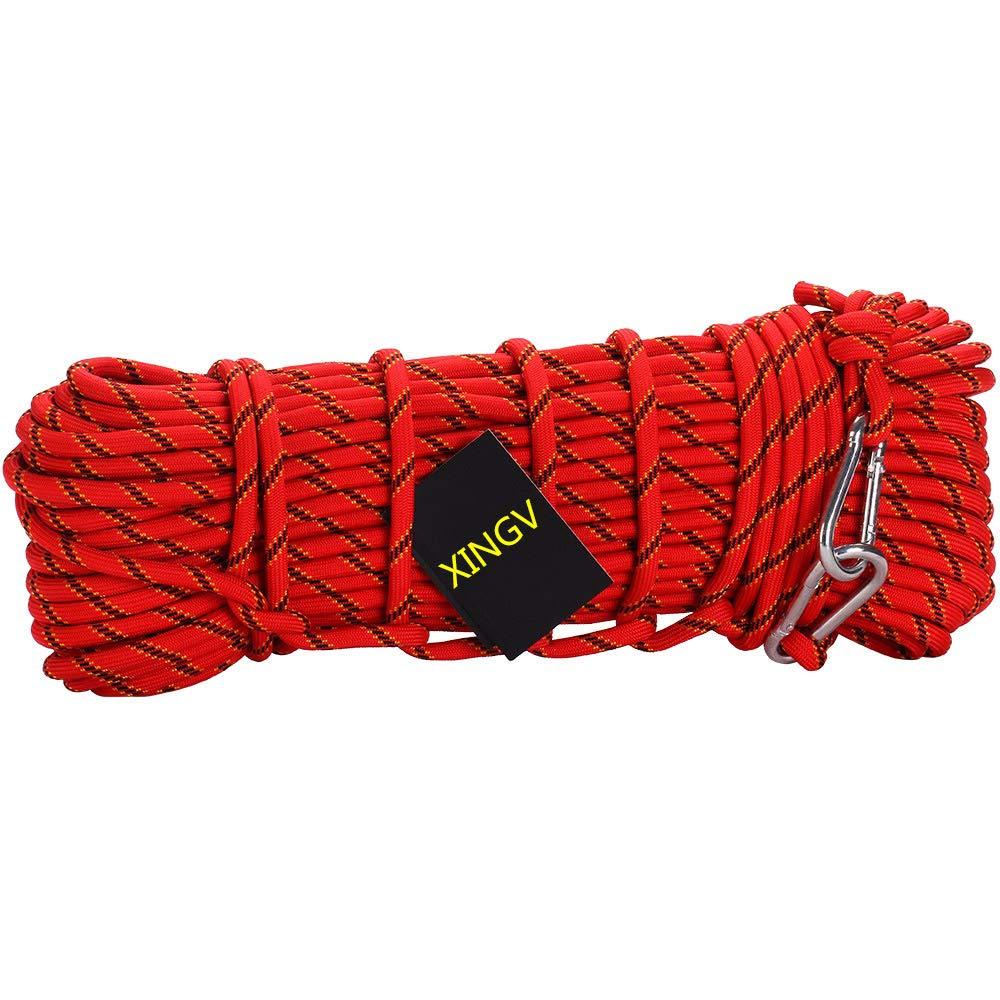 Rouge XINGV 10mm Corde de Sécurité Haute 40m Corde tressée avec 2 mousquetons pour l'escalade Parachute de Survie Cordes 50m
