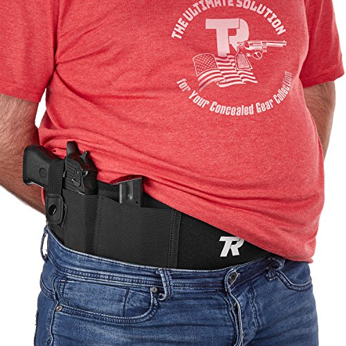 "Belly Band Holster for Concealed Carry XL Size for Men & Women - Adjustable 52.7"" Gun Holder for Pistols, Revolvers & Handguns - Noiseless Fast-Opening Snap & Anti-Sweat Cotton Lining + Carry Bag"