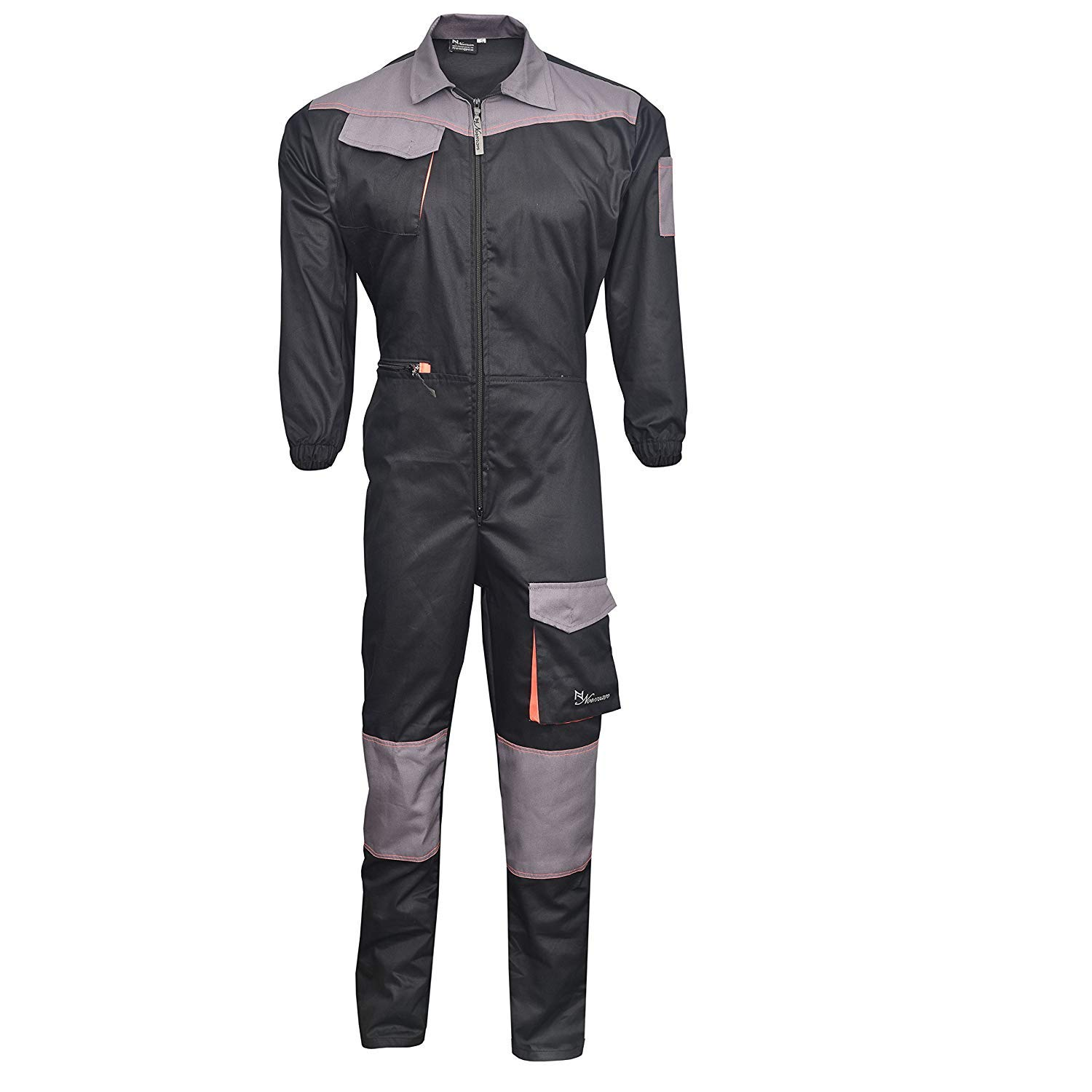 NORMAN Grey Mens Coveralls Boiler Suit Overalls for Warehouse Garages Workers Mechanics