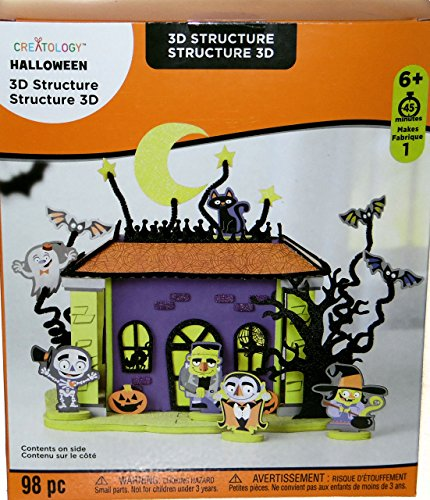 Halloween Haunted House with Vampire, Monster, Witch, Skeleton, Ghosts, 3D Foam Kit Party Art Project (Foam Kit 3d)