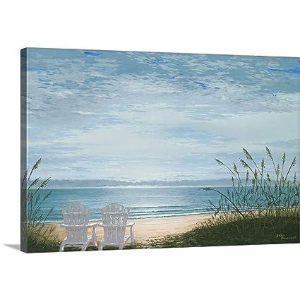 Bruce Nawrocke Premium Thick Wrap Canvas Wall Art Print Entitled Beach  Chairs 30u0026quot;x20u0026quot