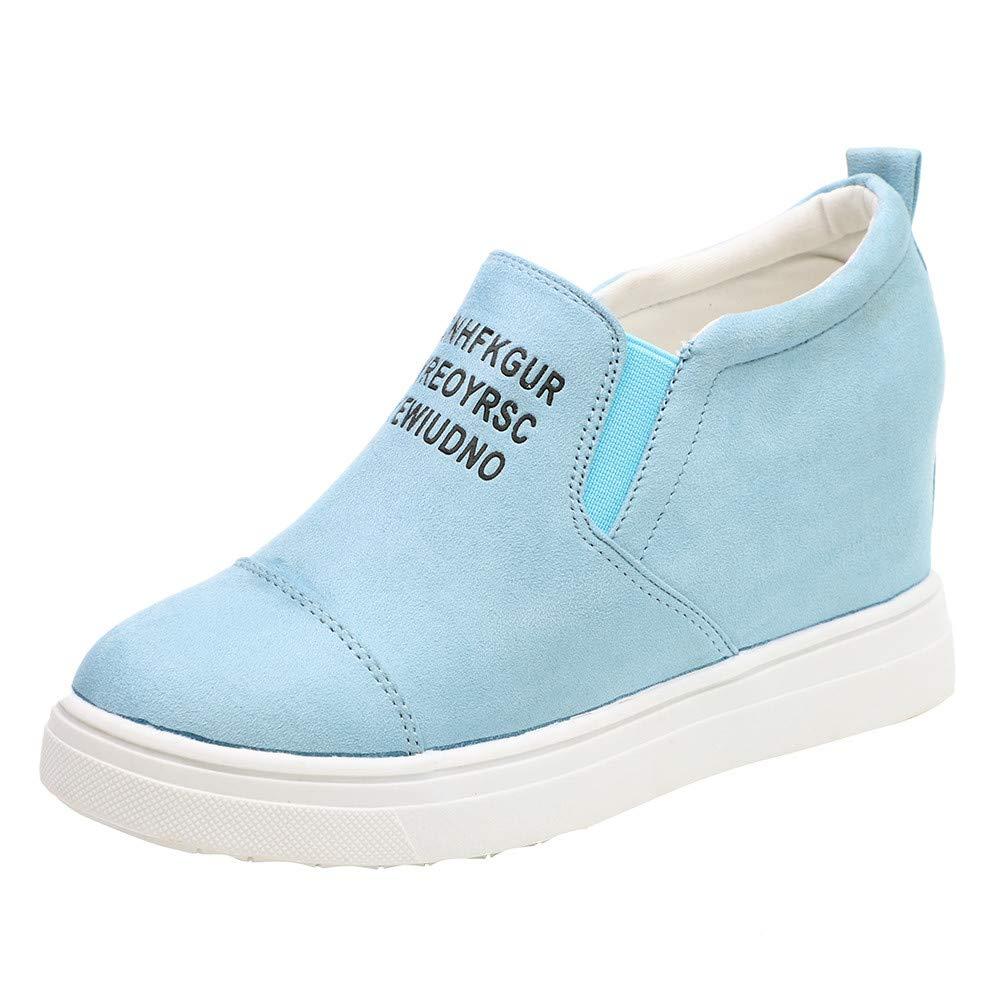 Kauneus  Women's Hidden Wedge Sneakers High Heel Slip On Platform Loafers Light Blue