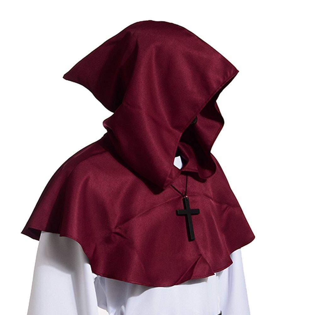 Men's Medieval Pagan Burgundy Shoulder Cowl Hood - DeluxeAdultCostumes.com