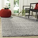 Safavieh California Premium Shag Collection SG151-7575 Silver Square Area Rug (8'6″ Square)