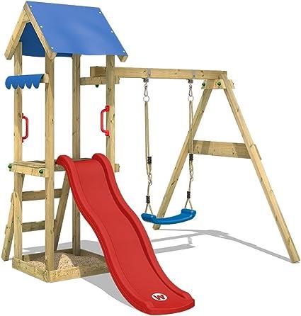 WICKEY Parco giochi in legno TinyWave Giochi da giardino con altalena e scivolo, Torre di arrampicata rosso da esterno con sabbiera per bambini