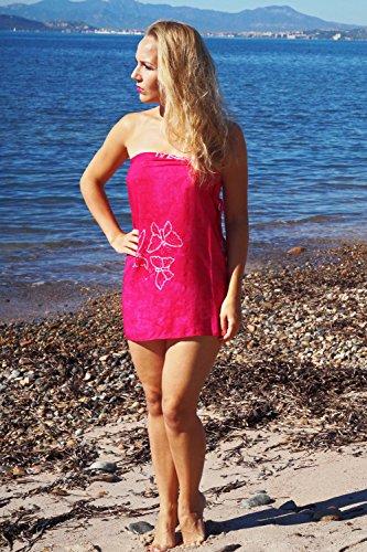 ManuMar Pareo de mujer | Pareo toalla de playa | Pareo ligero con flecos-borlas, diferentes tamaños, diseños y colores Pink mariposa mediano