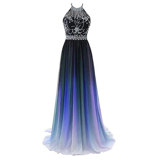 CutieTell Women\'s Gradient Color Chiffon Beaded Prom Dress Halter ...