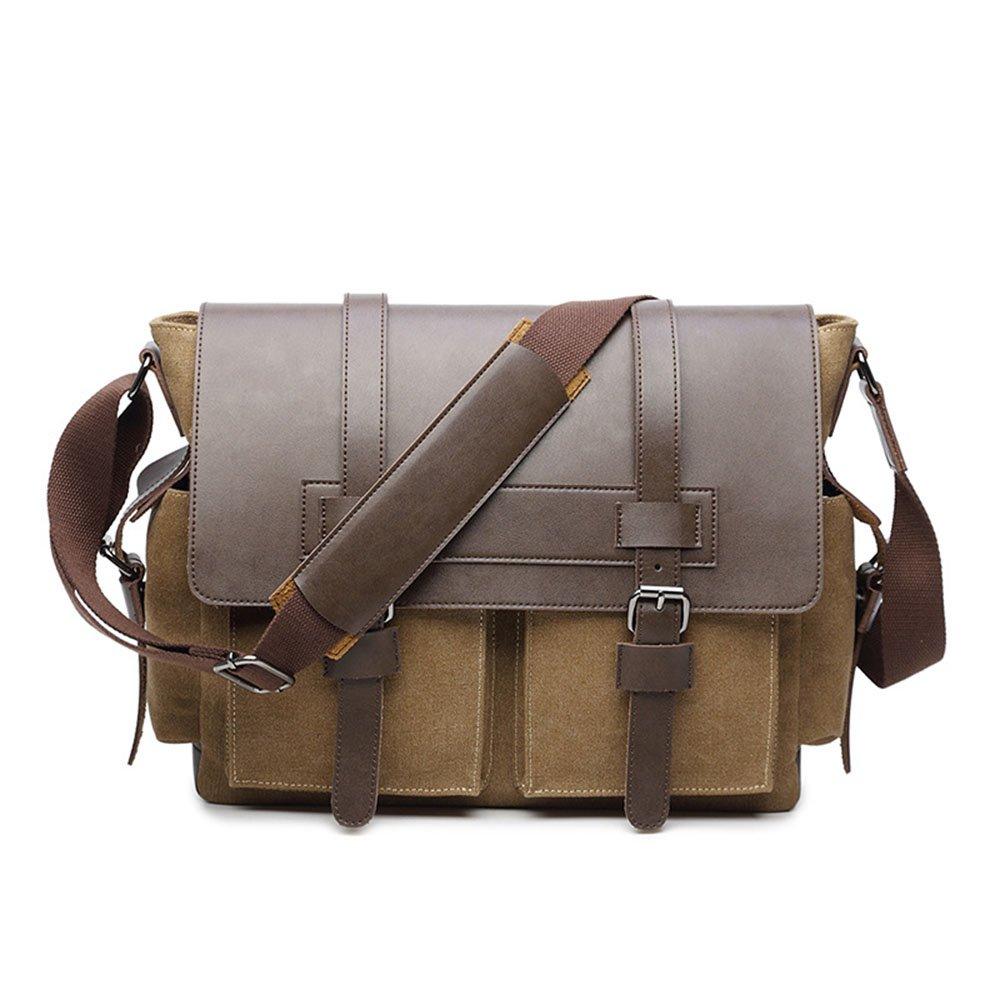 Yangjiaxuan Canvas with Leather Shoulder Bags Solid Color Men Briefcase Laptop Bag File Package Carry Bag (Color : Khaki)