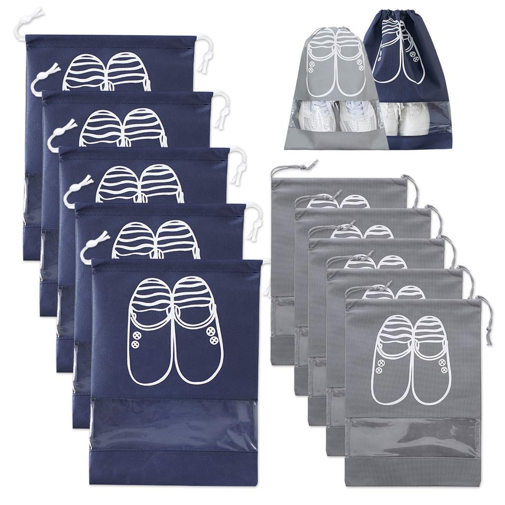 Travel Shoe Bags,10PCS Drawstring Shoe Organizer Waterproof Portable for Men and Women Space Saving Storage Bags Sets,Blue&Grey