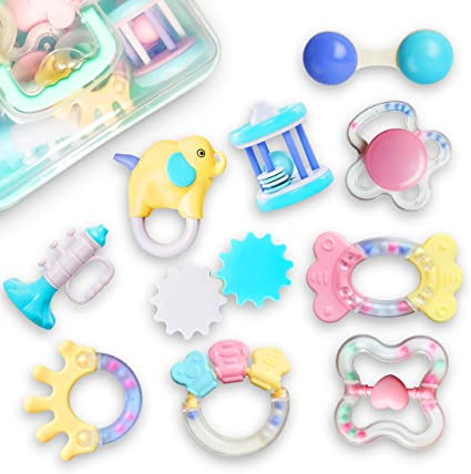 Baby Teething Ring Water Filled Rattle Teether BPA Free Toy 3 months+