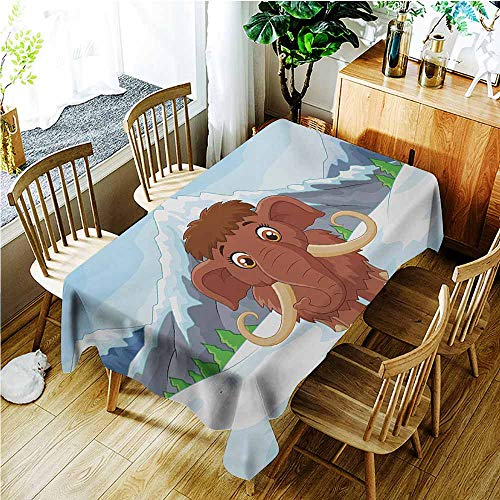 TT.HOME Small Rectangular Tablecloth,Cartoon Baby Mammoth in Ice Snowy Mountain Winter Cheerful Animal Prehistoric Design,Fashions Rectangular,W54x72L,Brown and Blue
