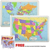 Painless Learning Educational Placemats For Kids Laminated USA and World Map Set Free Two Sided UNITED STATES/WORLD Maps 3-Ring Binder Washable