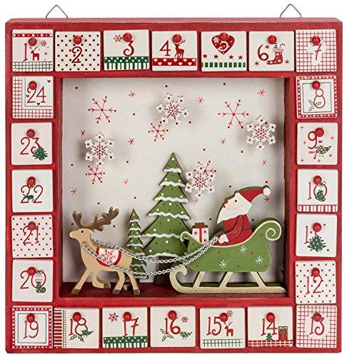 Wood Santa & Sleigh Shadow Box Advent - Sleigh Advent Calendar Santas