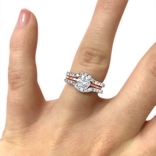 Amazon Com Moissanite Wedding Band Stackable Half Eternity Curved Ring Guard Double Set 14k Rose Gold Handmade