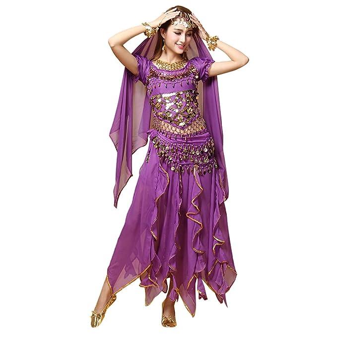 28c8cba96d4c Zhhlaixing Mujeres Elegante Gasa Conjunto de Traje de Danza del ...