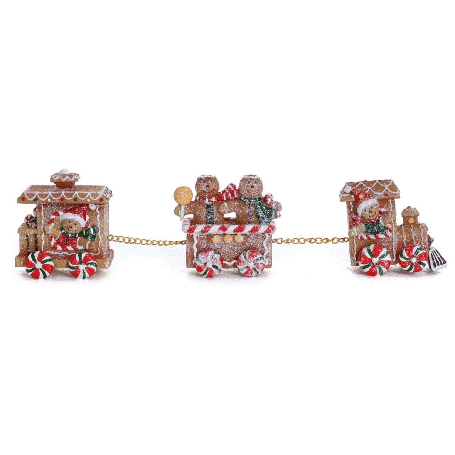 Small Three Car Christmas Gingerbread Train with Gingerbread People - Tabletop Holiday Decoration
