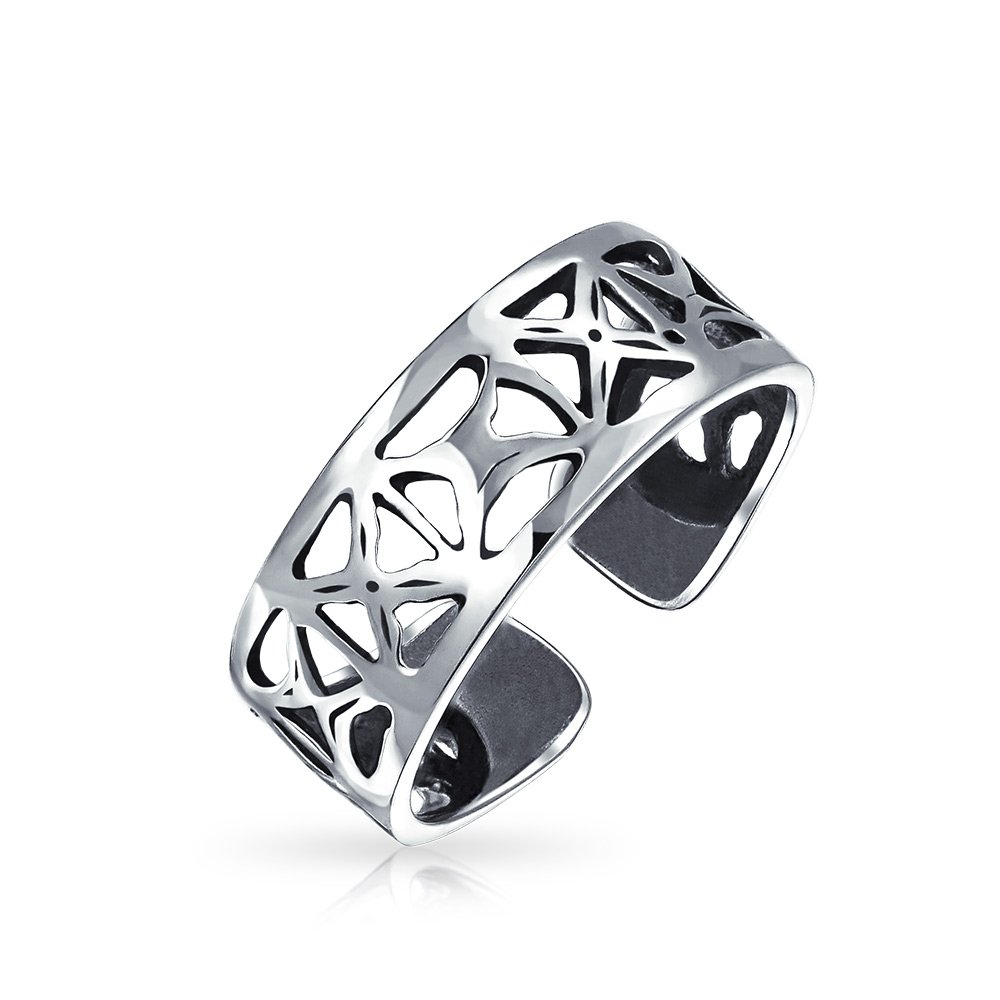 Bling Jewelry Sterling Silver Toe Rings Filigree Cutout X Mid Finger Ring PMR-R10267