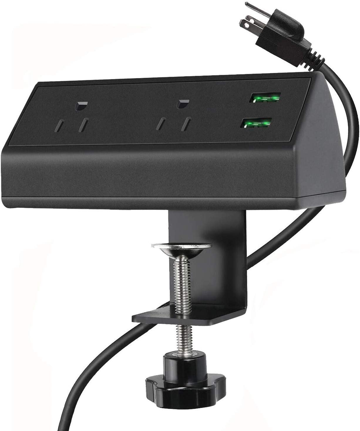 Desk Clamp Power Strip with USB, Desk Outlet Clamp Station with 2 AC Outlets, on Desk Mount Power Strip
