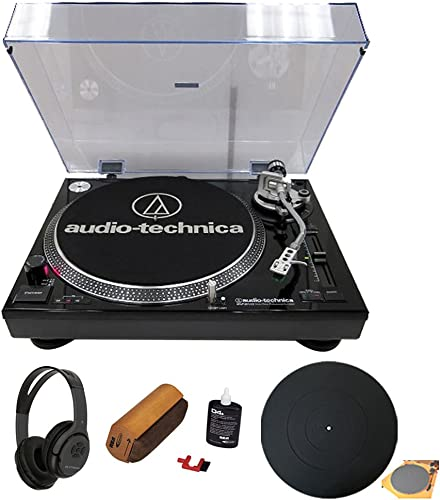 Audio-Technica AT-LP120BK-USB Direct Drive Professional Stereo Black Turntable w USB LP Analog Bluetooth Bundle with Wireless Headphones Silicone Rubber Universal Turntable Platter Mat