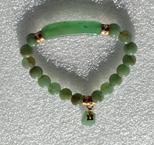 STONES BEADS ELASTIC WRIST WRAP HEALING BRACELET WITH GOLDEN ZINC ALLOY FINDINGS - USA SELLER (Green Aventurine Elastic)