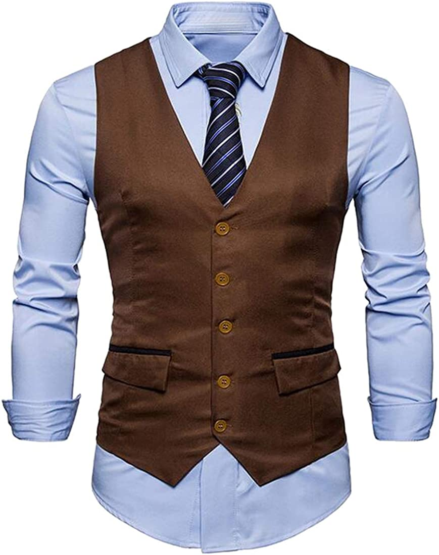 JYZJ Mens Single Breasted Business Sleeveless Solid Color Dress Suit Vest Waistcoat