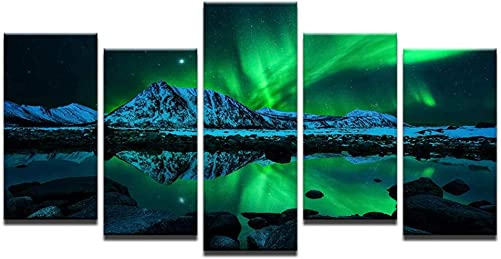 Bling 5 Piece Canvas Wall Art Green Northern Lights Aurora Boreali