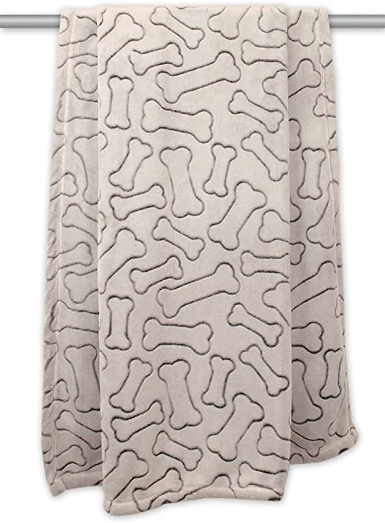 Bone Dry Embossed Bone Print Pet Blanket