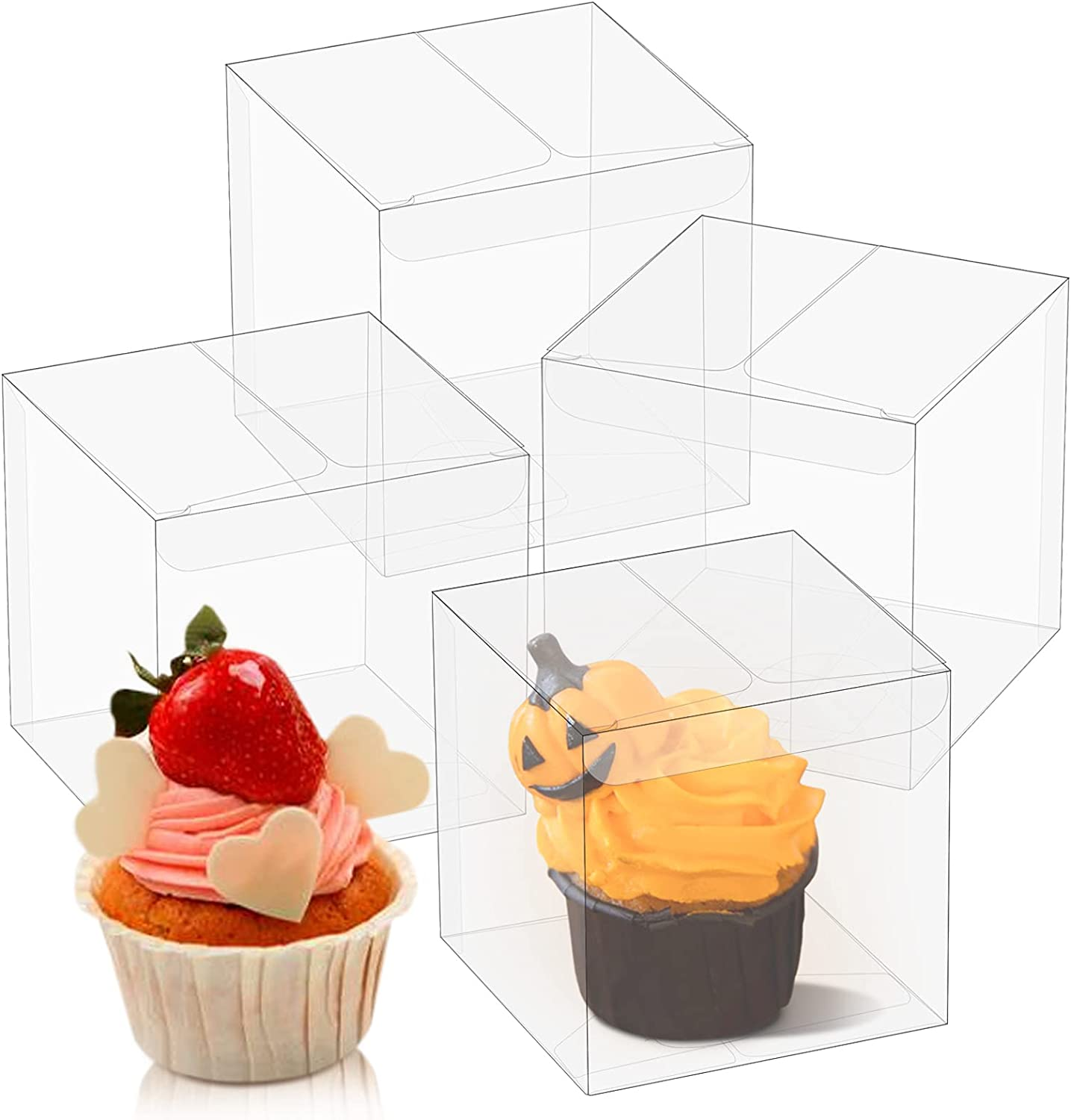 Oomcu 50 Pack Clear Plastic Favor Boxes,Transparent Macaron Cupcake Chocolate Candy Soap Gift Single Individual Packaging Boxes for Christmas Valentine Wedding Party Baby Shower Display(3