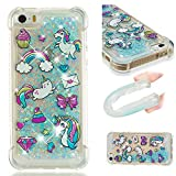 iPhone SE/5S/5 Case, UZER Shockproof Series Cartoon Cute Bling Quicksand Liquid Moving Flowing...