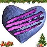 Mermaid Throw Pillows,Two-Color Reversible Sequins Mermaid Heart-Shaped Pillow Cover Interior 13''×15'' (Blue/Purple)