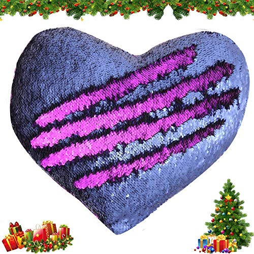 Tomus-UNI Mermaid Throw Pillows,Two-color Reversible Sequins Mermaid Heart-Shaped Pillow Cover Interior 13×15 (Blue/Purple)