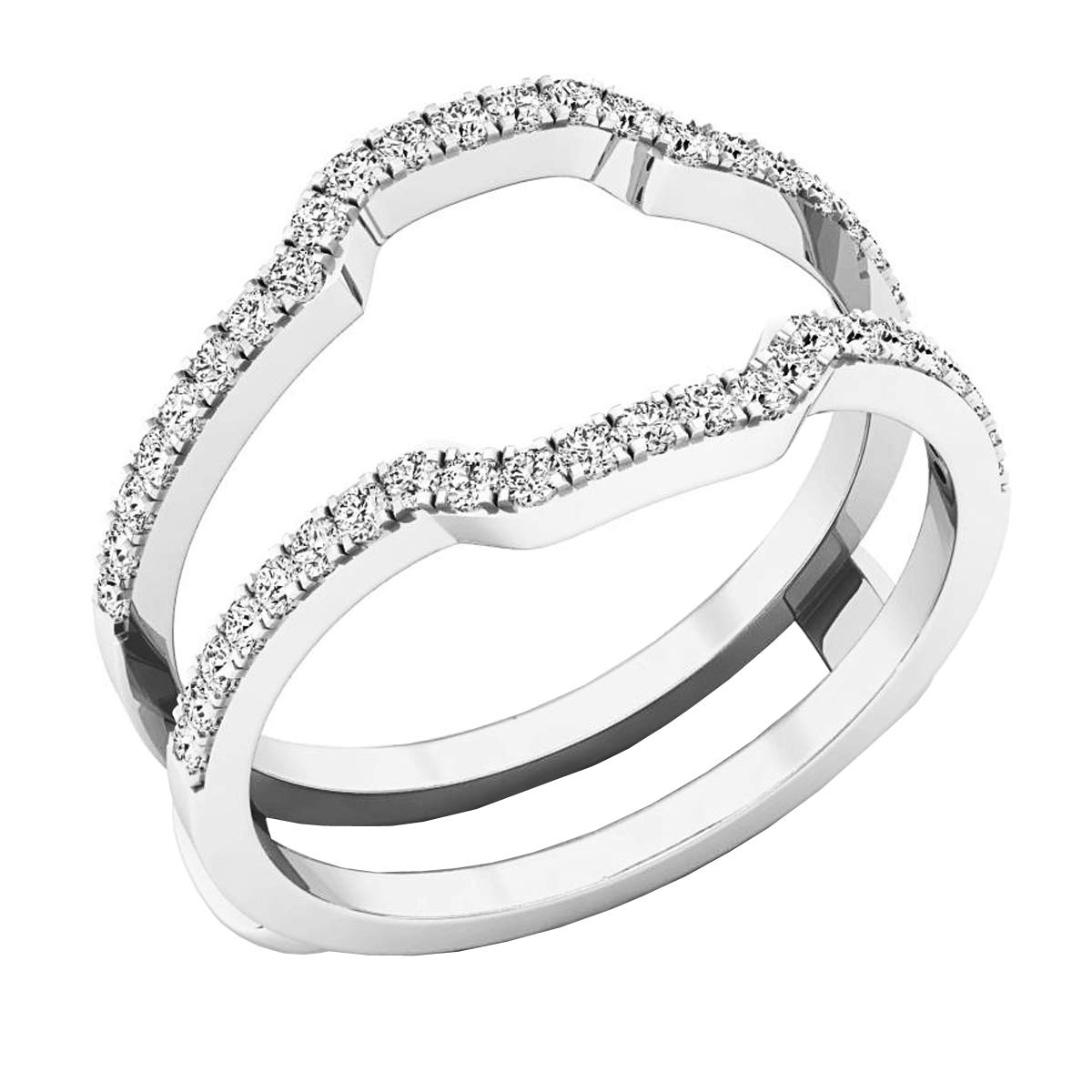 0.33 Carat (cttw) Round Diamond Ladies Wedding Band Enhancer Guard Ring 1/3 CT, 10K White Gold, Size 7 by Dazzlingrock Collection