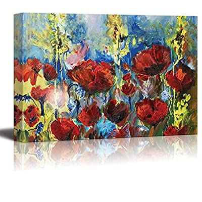 Delightful Object of Art, Red Poppy of Spring in Oil Painting Style Wall Decor, Made With Love