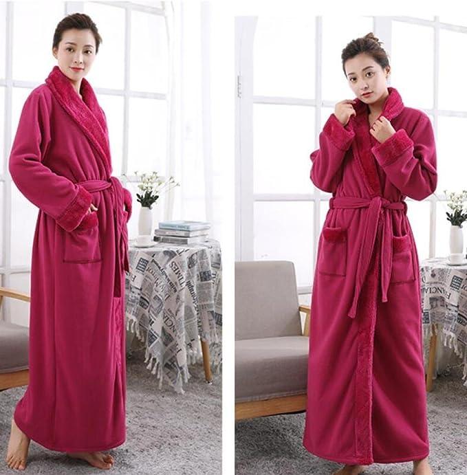 GL&G Invierno batas de franela - hombres y mujeres pareja modelos más gruesos camisón pijama Hotel albornoces hogar ropa,D,L: Amazon.es: Hogar