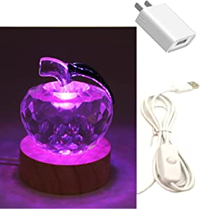 YUANHEN Crystal Apple Night Light with Wood LED Base - USB Interface Paperweight for Friends Christmas Valentine's Day TC