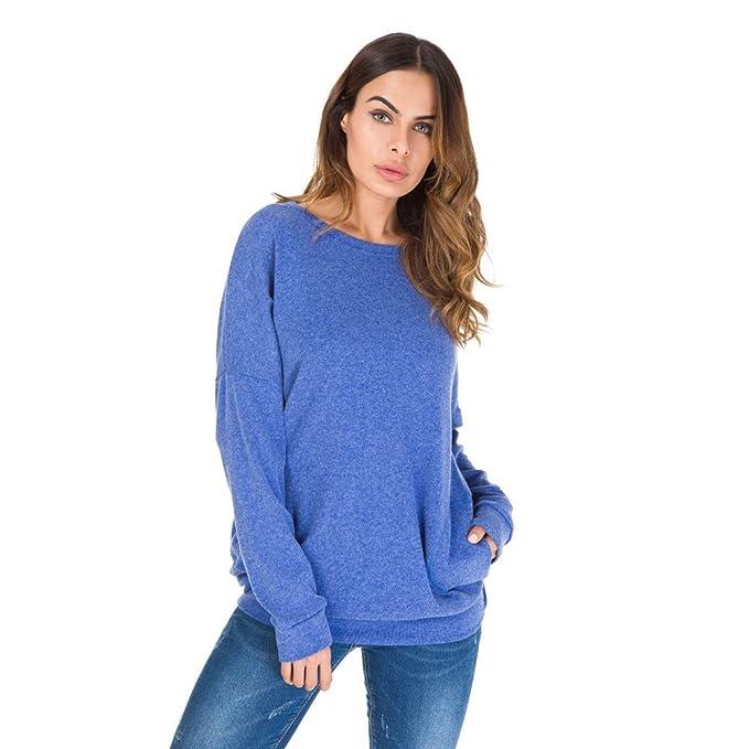 Maglietta Manica Lunga Donna Felpa con Tasca Davanti Camice e Bluse Taglie  Forti Pullover Girocollo Felpe b82a3cb9c64