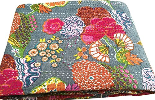 Marubhumi Indian Grey Kantha Stitch Floral Printed Gudari Cotton Bedspread 90 x 108 Inches