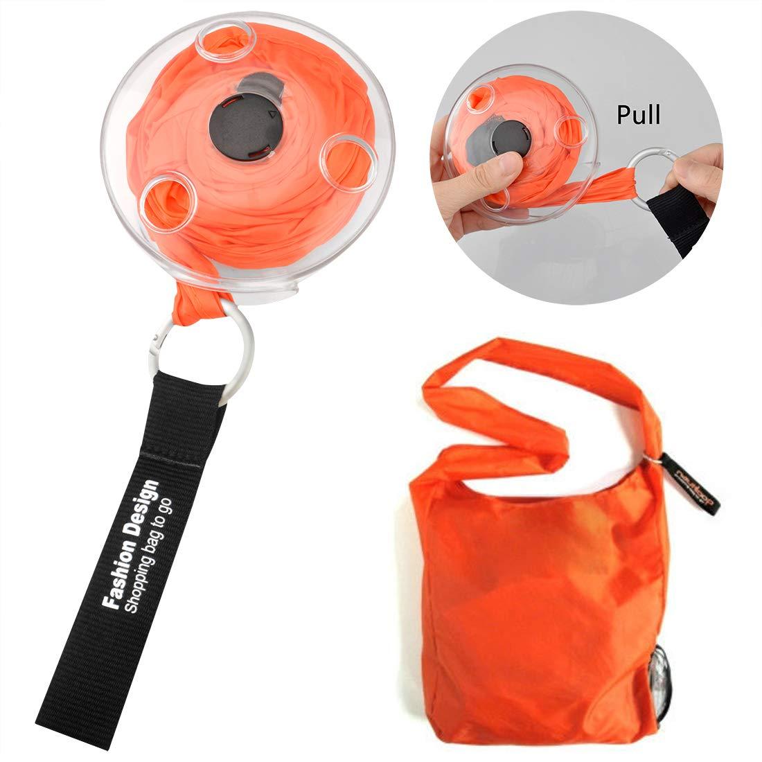 大容量折りたたみ式ポータブルショッピングバッグ 伸縮式便利収納バッグ 再利用可能な円形ディスクバッグ 食料品バッグ メッセンジャー (オレンジ) B07Q8GSSVL