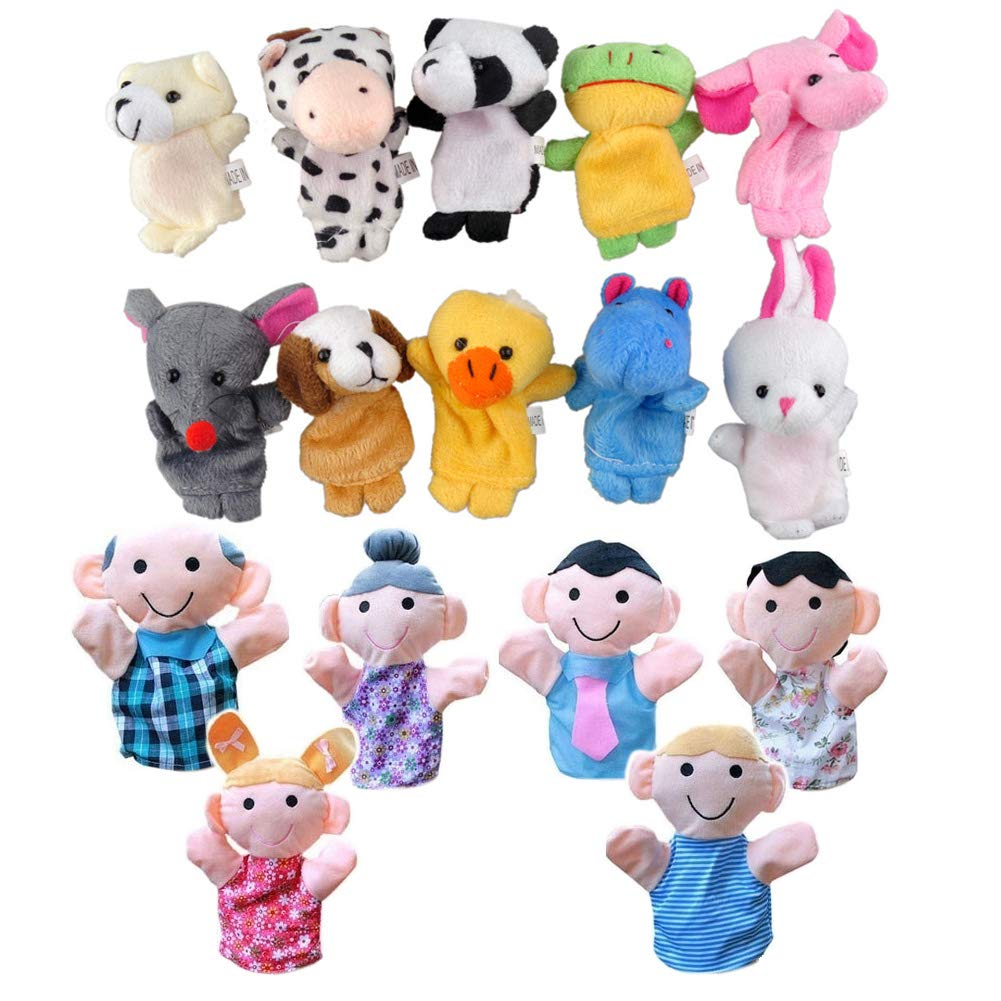 Vidillo Finger Puppet Toys Set 16 Pcs Family and Animal Style Craft Puppet for Toddlers Children Kids Party Favours Birthday Party Bag Fillers Educational Toys