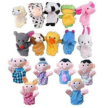 Marionetas de Dedo, 16 pcs Familiares Animal marioneta de ...
