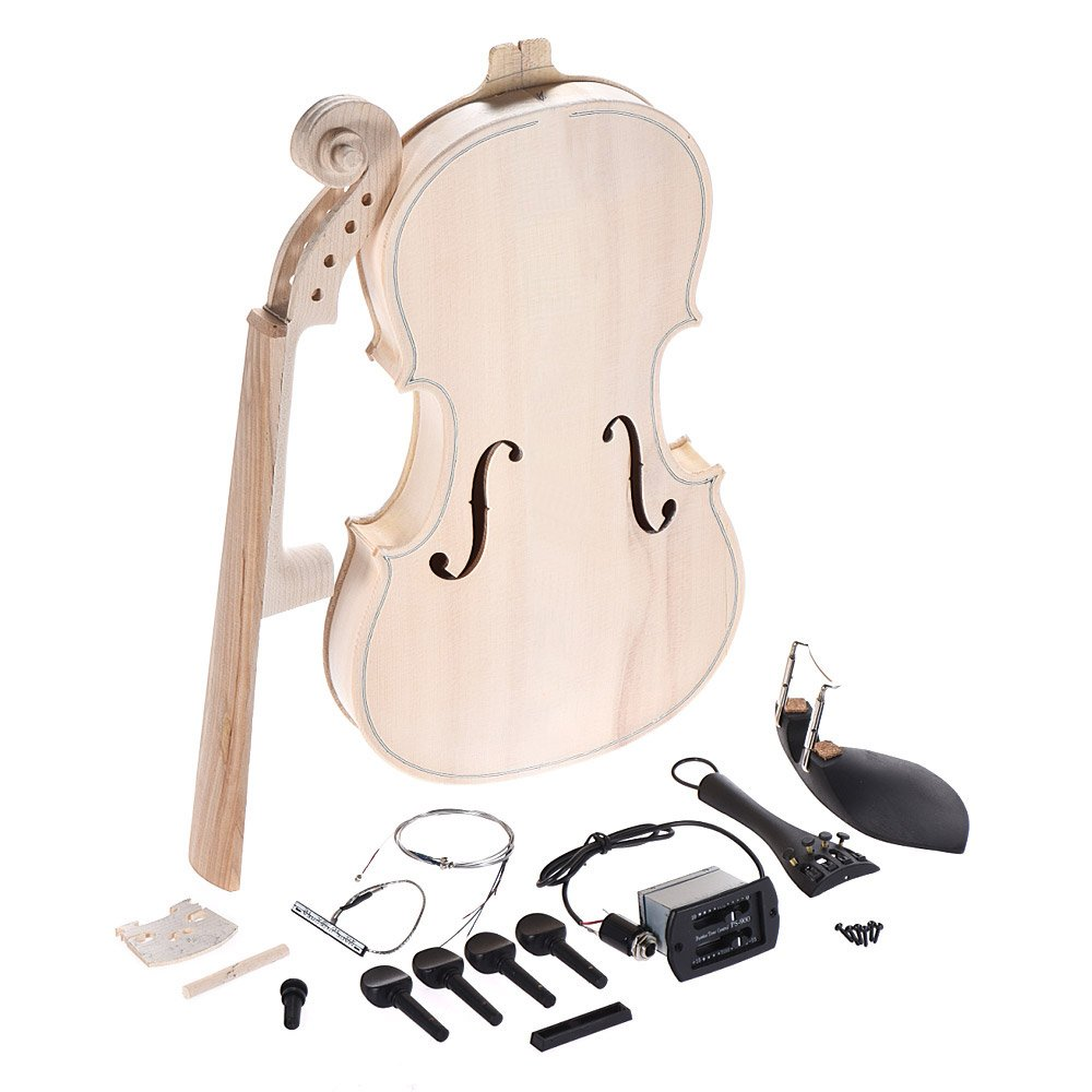 ammoon DIY 4/4 Full Size Acoustic Violin Natural Solid Wood Fiddle Kit with EQ Spruce Top Maple Back Neck Fingerboard Aluminum Alloy Tailpiece 1