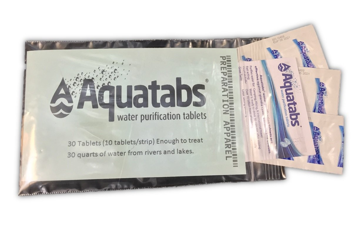 Aquatabs Water Purification Tablets for Camping and Emergency Preparedness, BAGGED 30-Pack