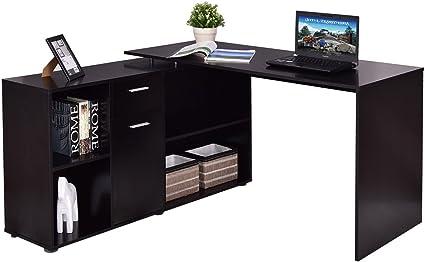 Giratorio en forma de L escritorio para ordenador esquina PC mesa ...