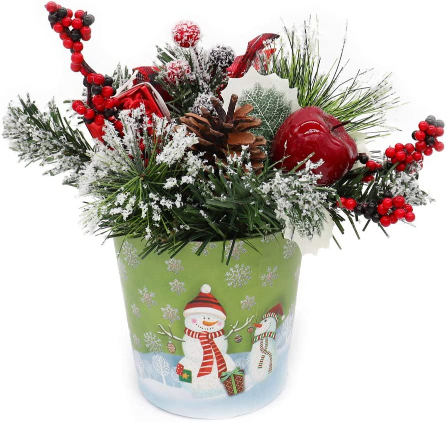 Beauty Life Artificial Tabletop Christmas Tree, Small Evergreen Spruce Tree with Pinecone, Berries, Present and Gold Reindeer in a Pot, for Xmas New Year Home Party Decoration Winter