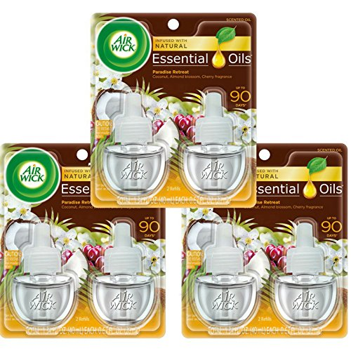 Air Wick Scented Oil Twin Refill Life Scents Paradise Retreat (Coconut/Almond Blossom/Cherry) 2 ea (Pack of 3)