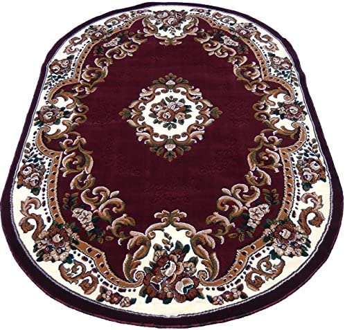 KJGRUG Medallion Oval Woven 5×8 Area Rug Burgundy Actual Size 5 2 x 7 2