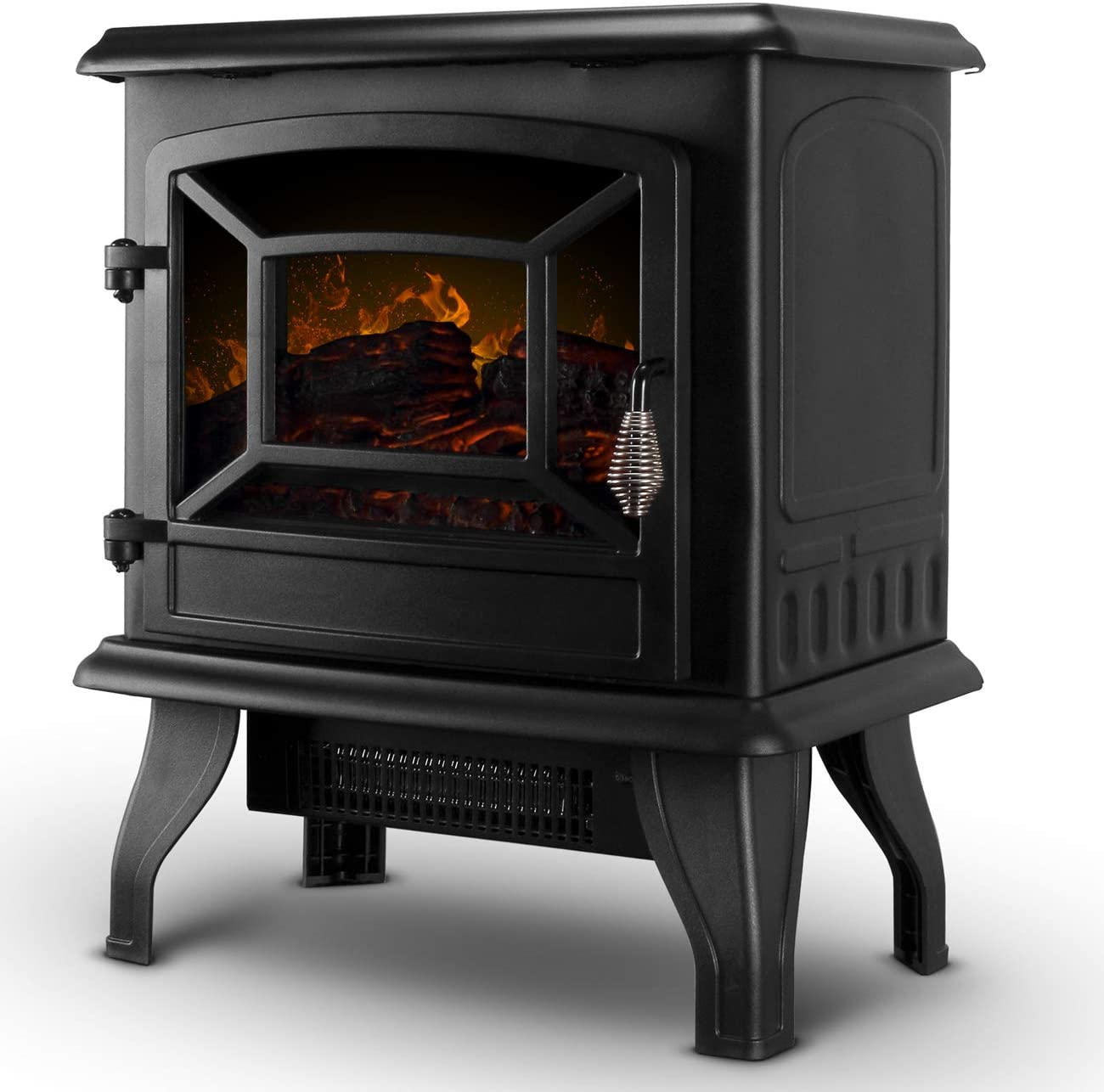 Della 17 Freestanding Portable Electric Fireplace Stove Infrared Quartz Realistic 3d Flames Firebox W Logs Heater Csa Certified 1400 Watts Black Home Kitchen