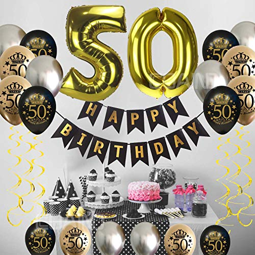 50th Birthday Decorations Men Women Supplies Favors Party Balloons